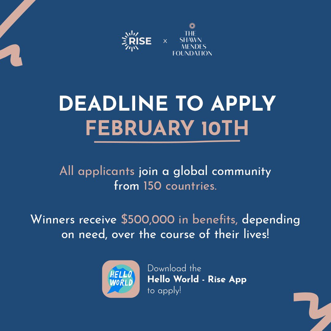 Replying to @shawnfoundation: Only 4 days left to apply to @risefortheworld!