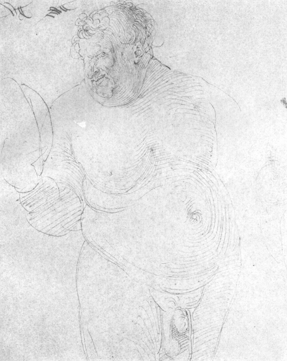 Naked man with mirror by albrecht durer