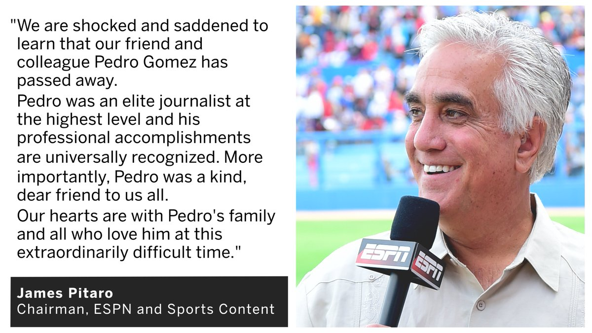 ESPN remembers SportsCenter reporter Pedro Gomez, who passed away unexpectedly today at the age of 58.