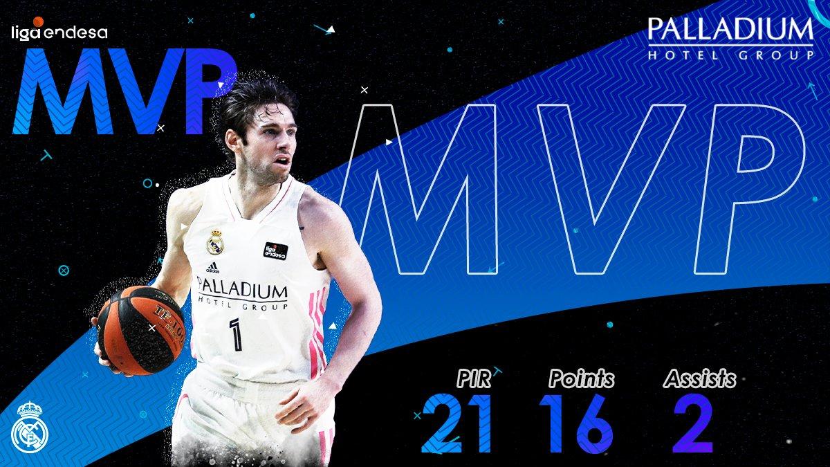 Fabien Causeur foi eleito jogador MVP no derby frente ao Estudiantes. #MVPalladium #HalaMadrid #HalaMadridYNadaMas #RMBaloncesto @FCauseur1
