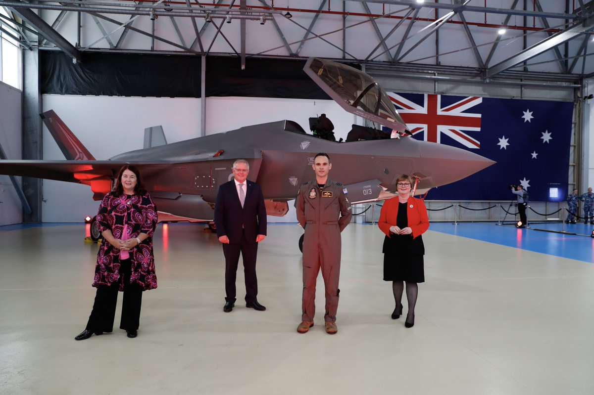 Another milestone for the global Joint Strike Fighter Program! Today, Prime Minister @ScottMorrisonMP, @Melissa4Durack and I witnessed the first F-35A aircraft to be maintained at the @BAESystemsAus maintenance depot at #AusAirForce Base Williamtown, NSW.