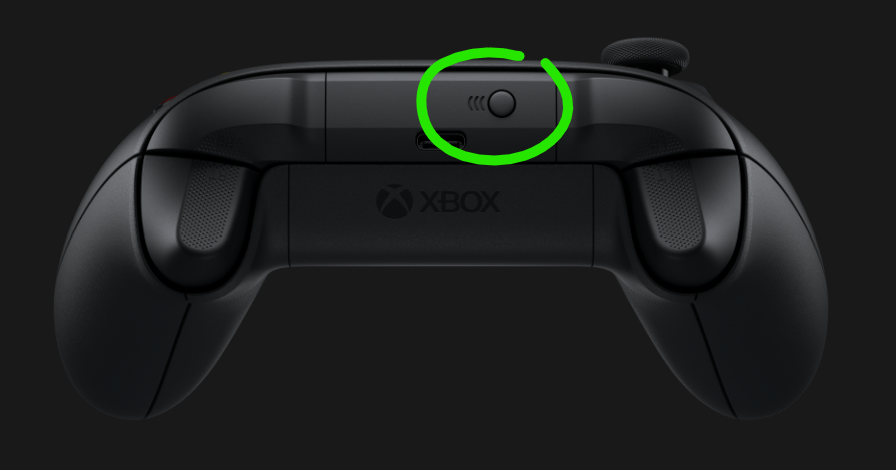 Xbox Series X controller with circled sync button