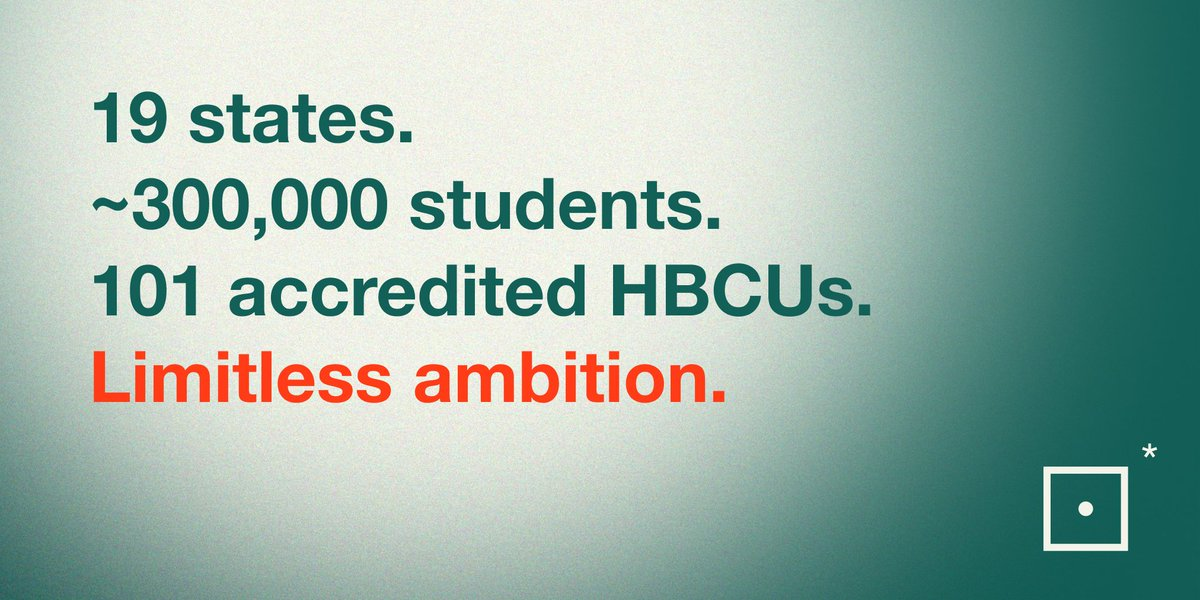 HBCUs are critical engines of economic growth for under-resourced communities. Too often overlooked, they are brimming with talent & ingenuity. The #BlackAmbition HBCU Prize invests in the brilliance of HBCU communities.  Apply by 02/18 at 6pm PST at  .•*