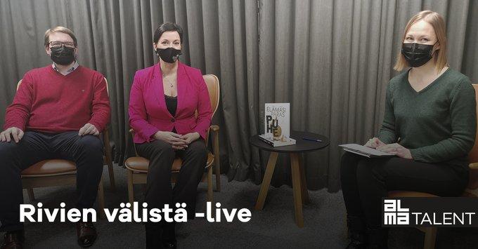 Rivien välistä -liven jaksossa Elämäsi paras puhe -kirjan kirjoittajat Unna Lehtipuu ja Antt....