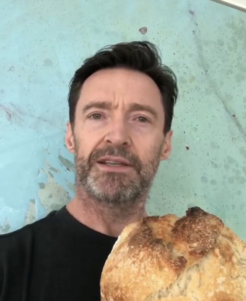 Attention please! A sweet, gorgeous man in New York City would like to gift some homemade sourdough bread to deserving front line workers. 😍 Head over to Hugh's Instagram page to nominate someone!    #HughJackman