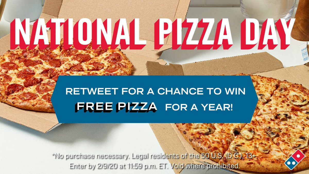 Tomorrow is #NationalPizzaDay! Sooo…  🍕RT for a chance to #WinDominosPizza🍕 🍕RT for a chance to #WinDominosPizza🍕 🍕RT for a chance to #WinDominosPizza🍕 🍕RT for a chance to #WinDominosPizza🍕 🍕RT for a chance to #WinDominosPizza🍕  Rules: