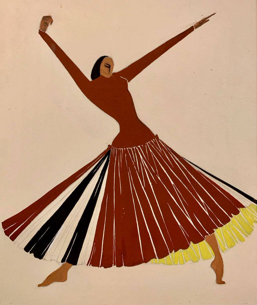 "Known primarily as a dancer and choreographer, Janet Collins (1917-2003) was also a gifted painter and costume designer. Janet Collins, costume design for ""Credo,"" n.d. *MGZGV 79-300, no. 20. #BlackHistoryMonth @nypl_lpa"