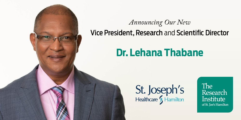 We're pleased to have Dr. Thabane as our new VP of Research @STJOESHAMILTON & Scientific Director @ResearchStJoes. Lehana's commitment, passion & dedication to academic excellence & extraordinary aptitude for mentoring others align w/ our mission & values: