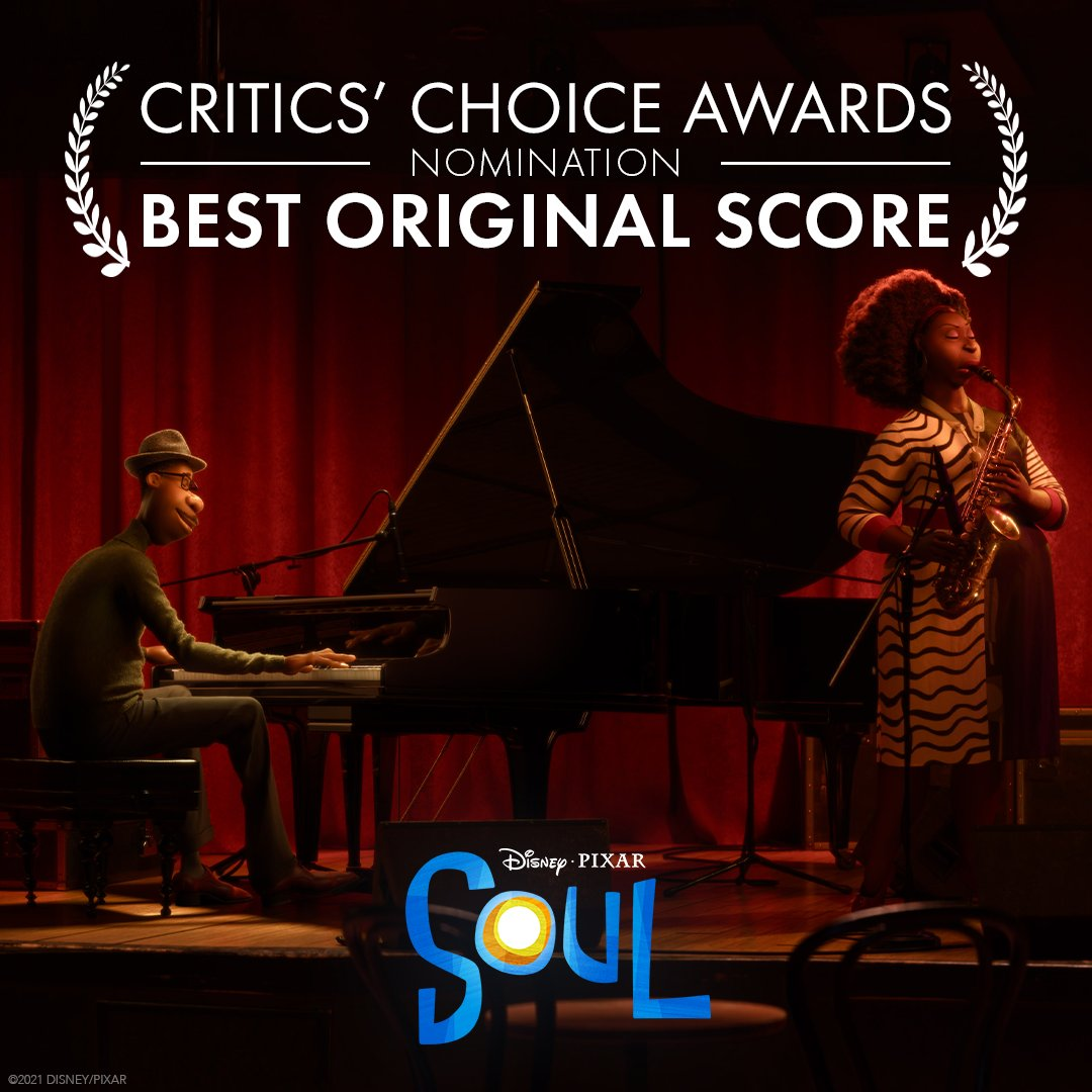 Congratulations to Trent Reznor, Atticus Ross, and Jon Batiste on their Critics Choice Award nomination for Best Score! #PixarSoul