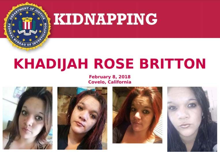 The #FBI is offering a reward of up to $10,000 for info leading to the arrest & conviction of those related to the disappearance of Khadijah Rose Britton, last seen at a residence in Covelo, CA, on Feb 8, 2018, being forced into a car at gunpoint: fbi.gov/wanted/kidnap/…