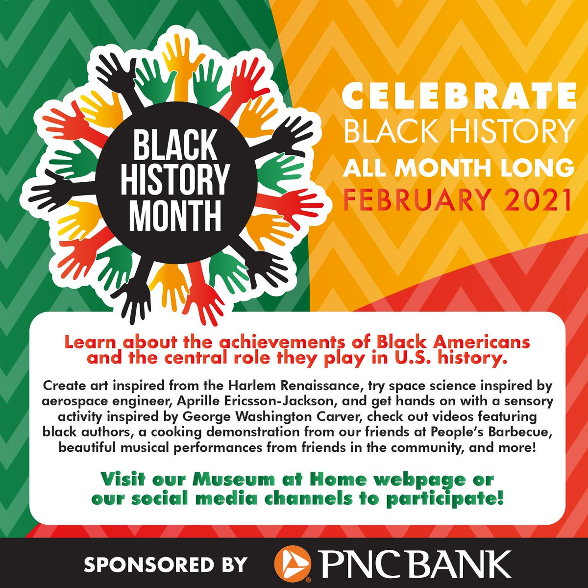Celebrate #blackhistorymonth with us! Join us for free virtual story times, art activities, songs and more. Sponsored by @PNCBank  https://t.co/k0riBByRm3 https://t.co/x85EcayzUE