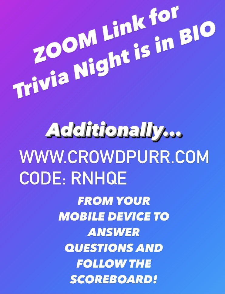 test Twitter Media - Tonight: Please Note for Virtual Trivia Night Links you will need both Zoom and Crowd Purr -> Zoom https://t.co/IDHFSnolhe and Crowd Purr: RNHQQE @YHSWildcats https://t.co/4bswmKYMTh