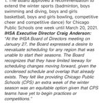 Image for the Tweet beginning: IHSA says the CPS basketball