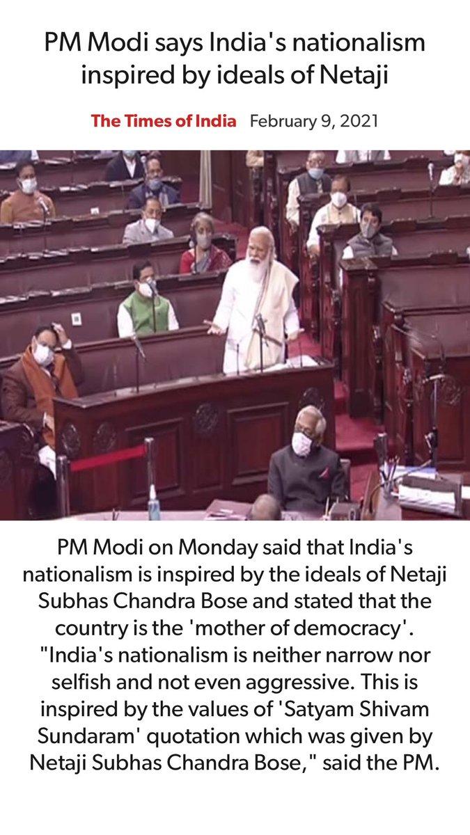 PM @narendramodi says India's nationalism inspired by ideals of Netaji. timesofindia.indiatimes.com/india/pm-modi-… via NaMo App