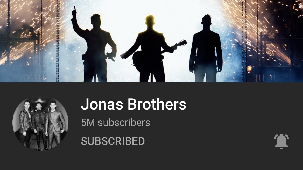 The @jonasbrothers YouTube account just reached 5 million subscribers! Congratulations besties!! 🎉 @jonasbrothers @joejonas @nickjonas @kevinjonas