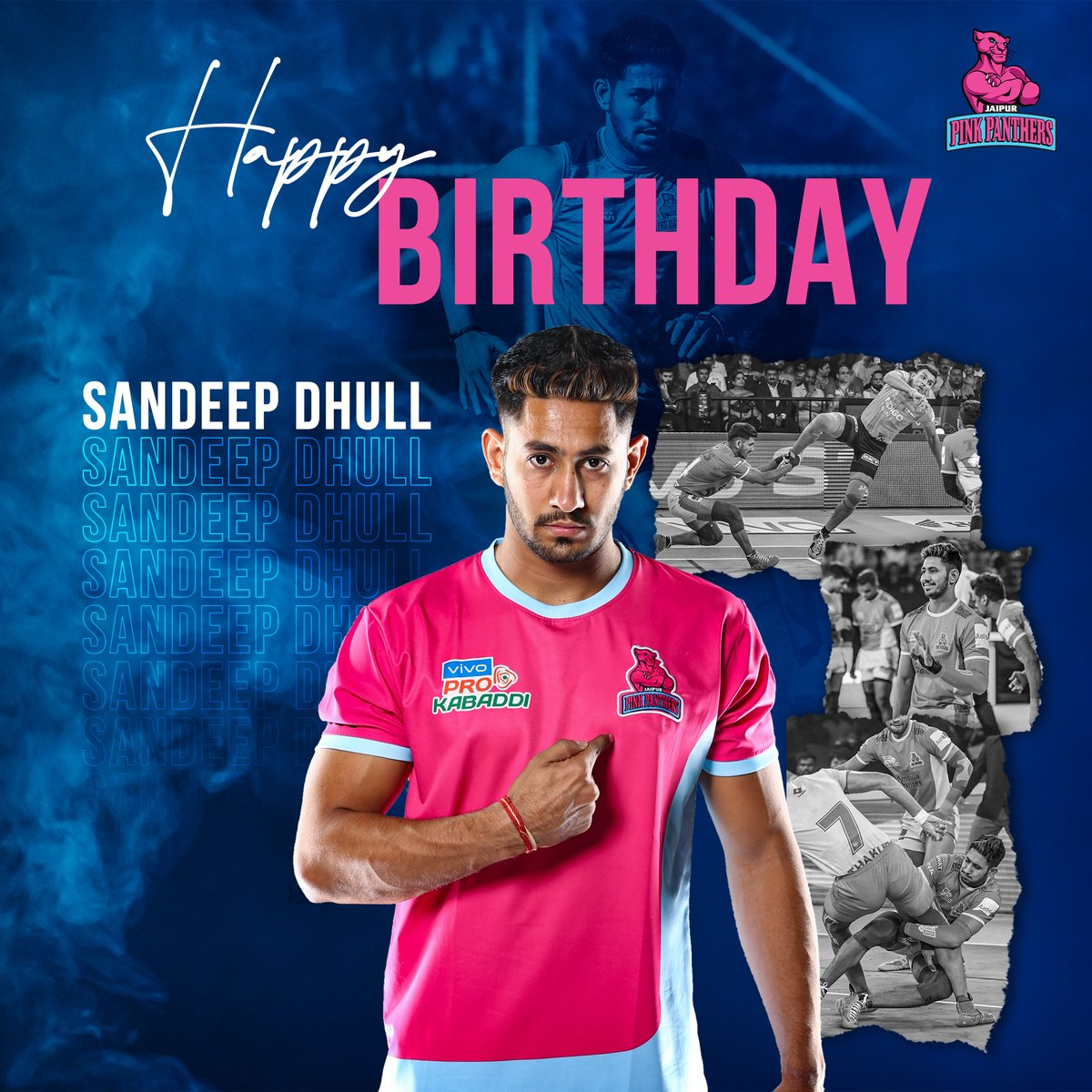 On your birthday we wish for you that whatever you want most in life it comes to you just the way you imagined it or better. Happy birthday @Sandeep_Dhull_4 🎂🥳  #PantherSquad #JaiHanuman #TopCats #JaipurPinkPanthers #JPP #Jaipur #vivoprokabaddi