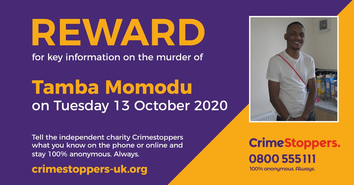 Do you have info that could lead to the conviction of those linked to the murder of Tamba Momodu in #Telford last October?   Speak up, 100% anonymously on 0800 555 111 or via our secure online form. You could be eligible for a #reward of up to £10,000: