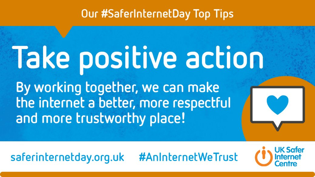 For #SaferInternetDay let's work together to create #AnInternetWeTrust . @UK_SIC have created a range of top tips for all ages. Find out more at