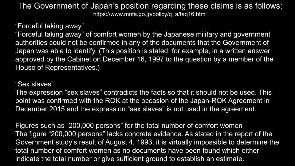 "@GermanyinJapan Looks good. Then I say,  You should remove comfort women statues in Berlin to protect the facts. #ProtectTheFacts  As you know, the fact is, ""comfort women"" were not sex slaves, but prostitutes who chose to work at military brothels under voluntary agreements."