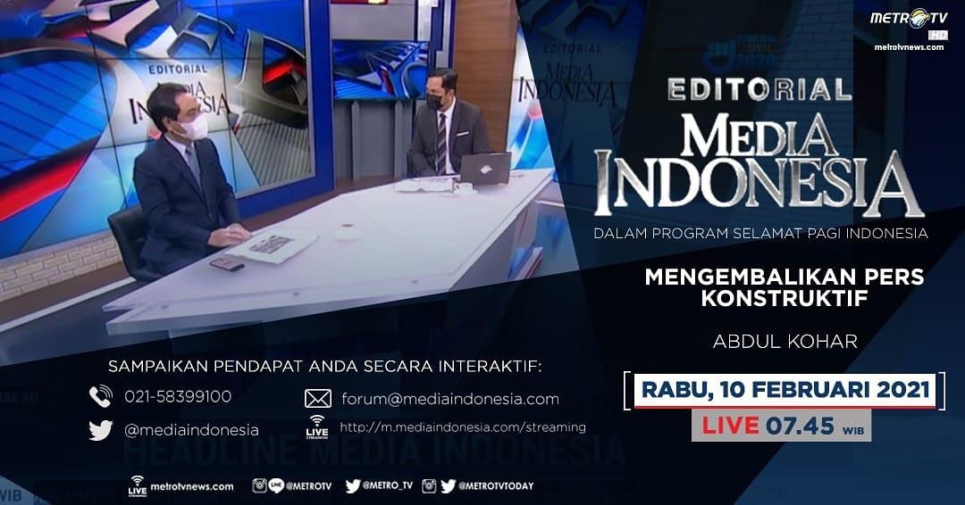 #EditorialMediaIndonesia hari Rabu (10/2) LIVE pukul 07.45 WIB dalam program #SPIMetroTV akan membahas soal ajakan Presiden Joko Widodo agar pers terus menyuarakan optimisme di tengah pandemi, bersama pembedah Abdul Kohar.  #metrotv #mediaindonesia