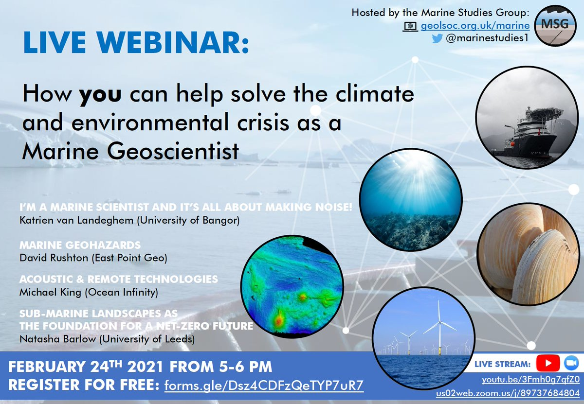 MSG Webinar 24th Feb Marine Geoscientists work at the leading edge of research in ocean resources and past climate. This is critical to mitigate climate change and ensure a safe future environment. @geolsoc @GeoForTheFuture Register (free) forms.gle/Dsz4CDFzQeTYP7