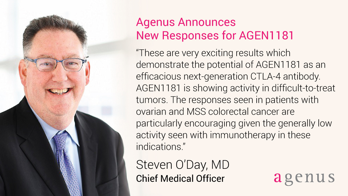 test Twitter Media - $AGEN announced 2 new responses today with its next-gen #CTLA4 AGEN1181 in #ovariancancer and MSS #colorectalcancer, indications that usually respond poorly to #immunotherapy, as @ODayMD points out. Read more: https://t.co/9ZXwsaqX7K https://t.co/jX0HoaxSSC