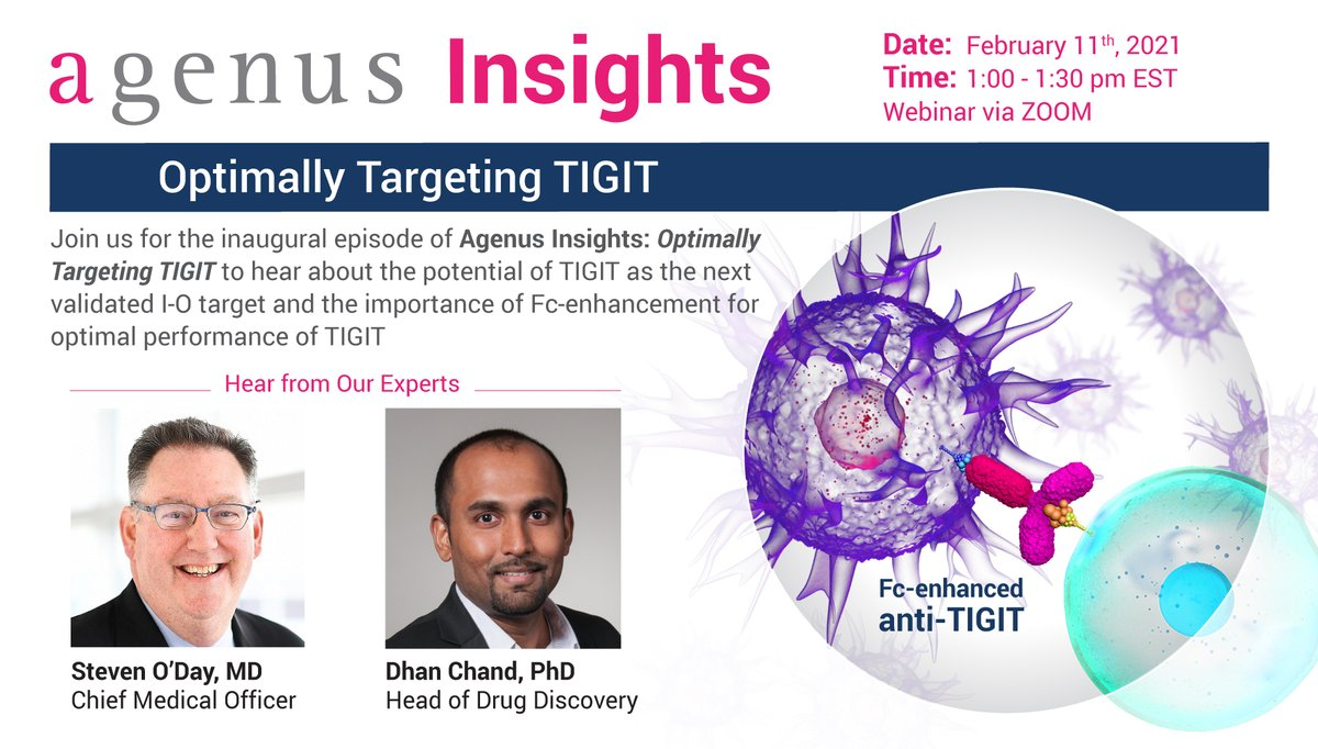 """test Twitter Media - $AGEN announces Agenus Insights, a R&D miniseries that will offer key insights into the most impactful areas of research in #ImmunoOncology today. Join us for the inaugural episode """"Optimally Targeting TIGIT"""" on Feb 11 at 1pm ET. Learn more & register: https://t.co/R3LW6iSzxn https://t.co/j0CbOaJtFZ"""