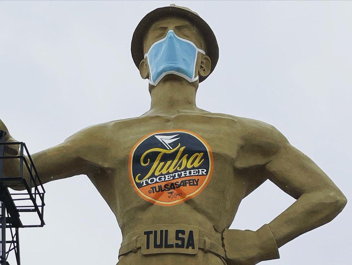 "The Tulsa Golden Driller says, ""No SkyRide today my friends."" #Tulsa #TulsaOklahoma #GoldenDriller #1966 #TulsaExpoCenter #NoSkyRide #TulsaTogether #TulsaSafely #COVIDVaccine #WearYourMask 😷"