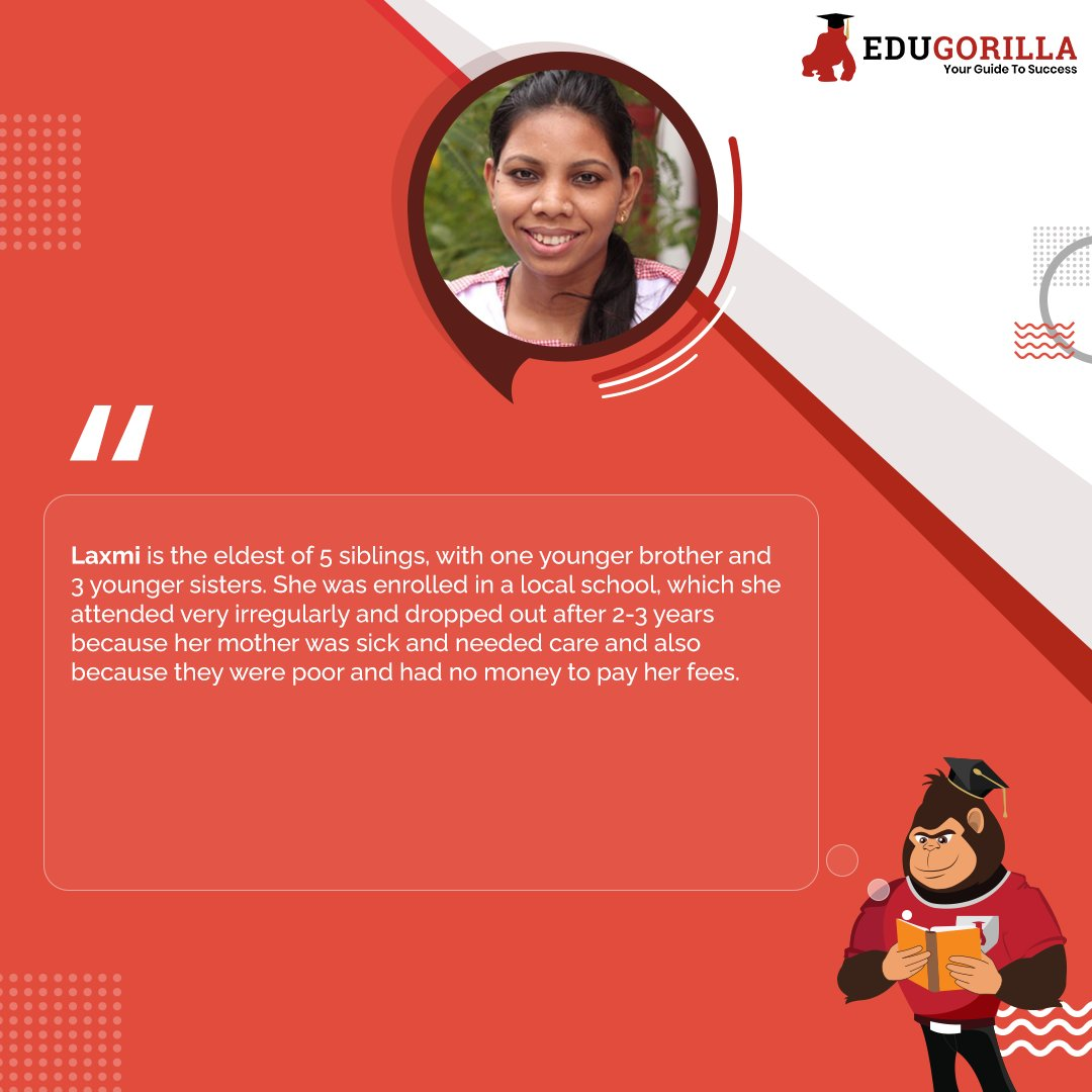 """Success Story  #Laxmi, a #young dalit #girl born in #Lucknow in 1992, lives in a one room house with her #father and 4#siblings. """"#Data and #Facts"""" """"#India_Fact"""" #SuccessStory #Educationist #LifeQuotes #Inspire #Education #OnlineTestSeries #EduGorilla #Students #Teachers #Success"""