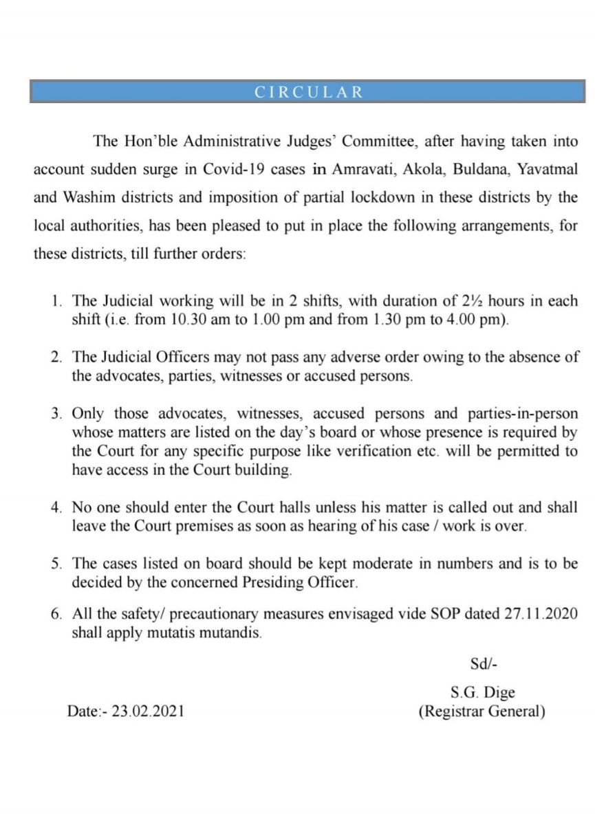 [Notice] - Owing to the surge in Covid-19 cases in 5 districts of Maharashtra (Amravati, Akola, Buldana, Yavatmal and Washim) the Administrative Judges' Committee has issued several guidelines, including conducting judicial work in two shifts of 2.30 hours, each. https://t.co/Jd7GiywT84