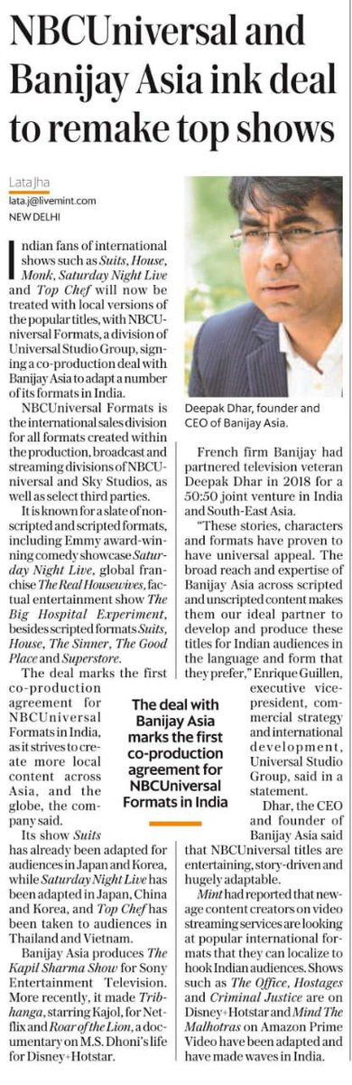 Announcing a proud partnership with @NBCUniversal ! Here's to making some great content! @banijaygroup @deepak30000 @livemint