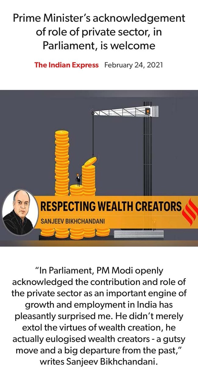 Prime Minister's acknowledgement of role of private sector, in Parliament, is welcome.   An article by @sbikh.     via NaMo App