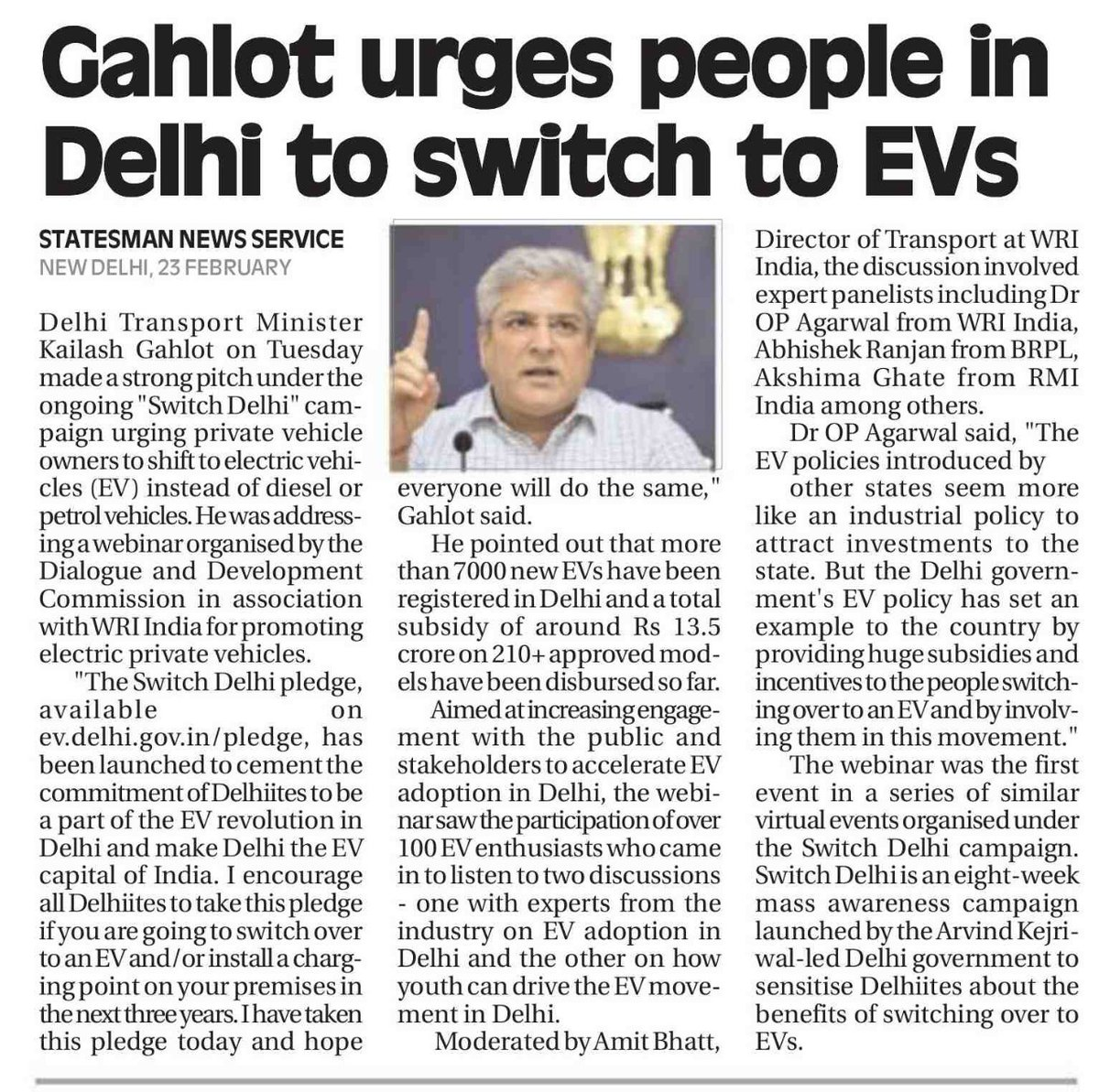 #InTheNews | Aimed at increasing engagement with public to accelerate #electricvehicle adoption in Delhi, over 100 EV enthusiasts came to listen in to two a webinar yesterday that featured our Principal, Akshima Ghate, among other experts.  Read more from @TheStatesmanLtd: