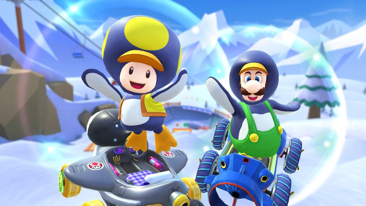 test ツイッターメディア - 雪上はお任せあれ!? 前半の目玉は、今ツアー初登場の「ペンギンキノピオ」と、再登場の「ペンギンルイージ」!  ペンギンコンビがスノーツアーに登場!  #マリオカートツアー https://t.co/Gw2HDNqoCD
