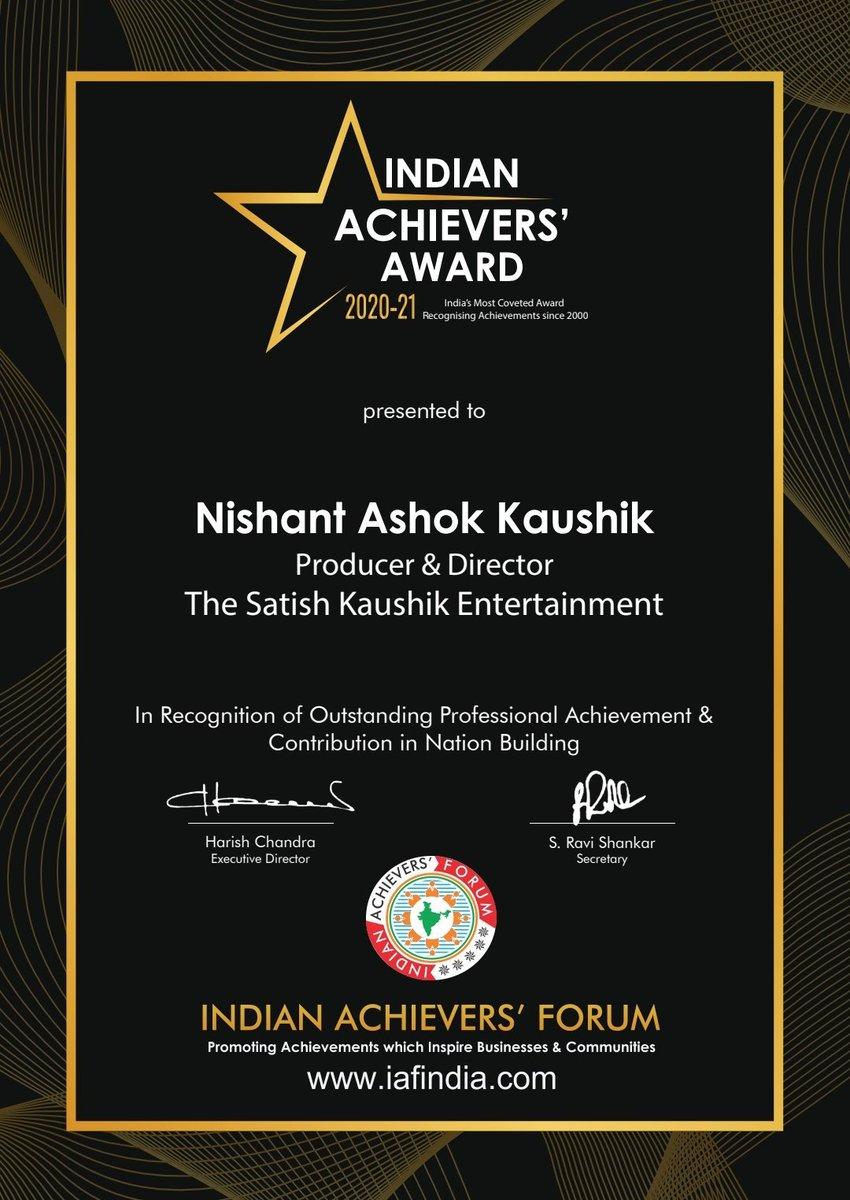 Congratulations to @Nishantkaushikk my nephew who in couple of years produced films like School Chalega, Distant Teardrop ,Chhoriyan Chhoron Se Kam Nahi Hoti, Mann Udhaan Vara and recently #Kaagaz . Keep going Nishant with ur hard work and dedication towards movie making . 👏👏