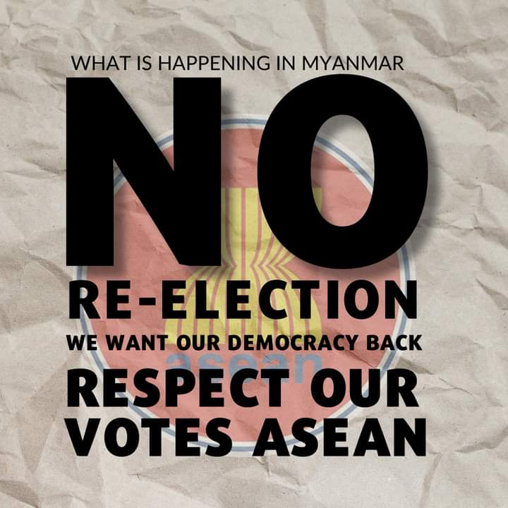 Myanmar protesters' campaign has quickly pivoted to ASEAN neighbours with a junta envoy in Thailand and Indonesia mulling plans that critics say could legitimise the military government. One trending hashtag is #ASEANRespectOurVotes #WhatsHappeningInMyanmar https://t.co/w9ifr9YbmB