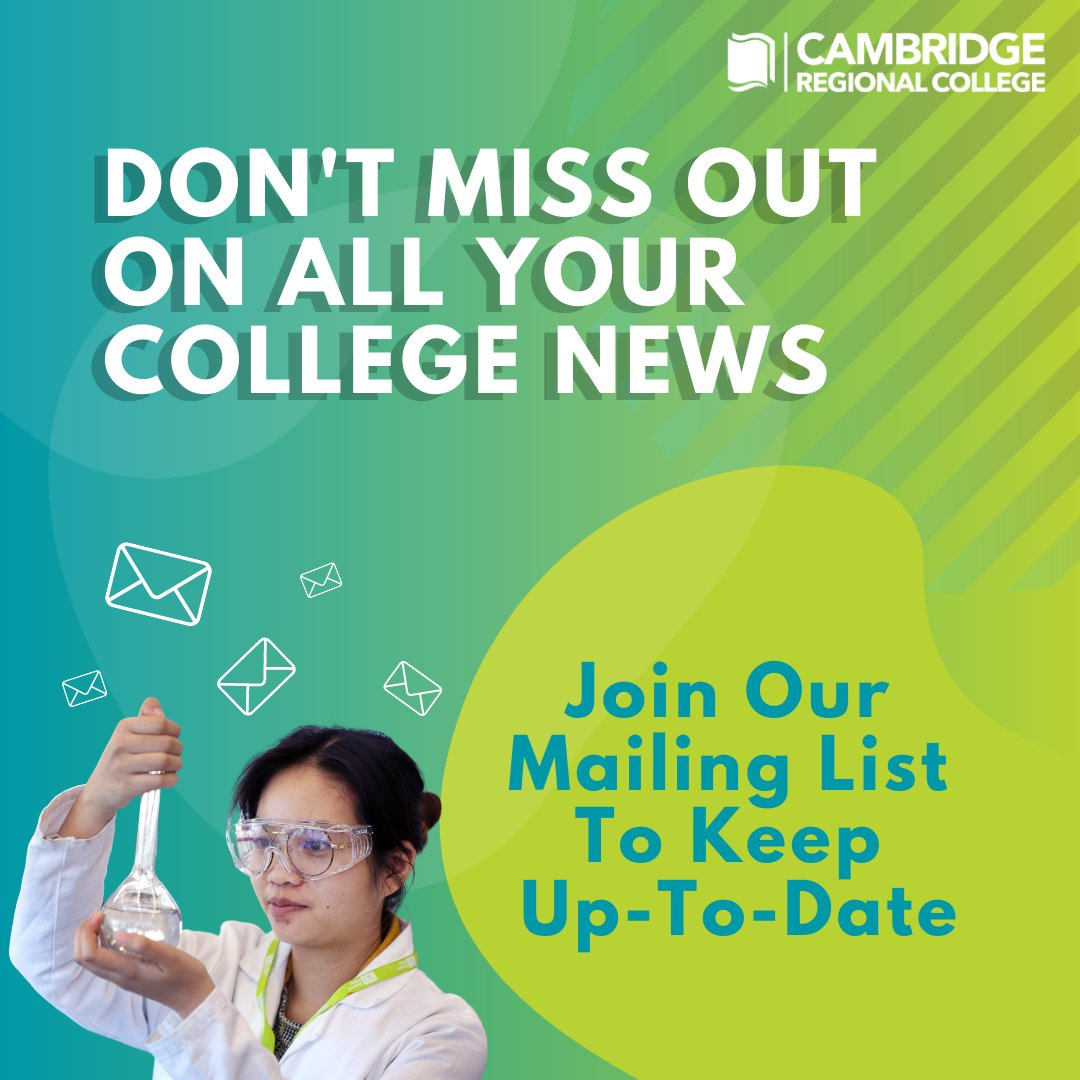 Don't forget to sign up to the college mailing list to receive all the important information you don't want to miss out on! Be the first to hear about exciting opportunities, upcoming events and course area updates.  Register now! https://t.co/FCw1D8zPa6 https://t.co/LYnOR1u4pA