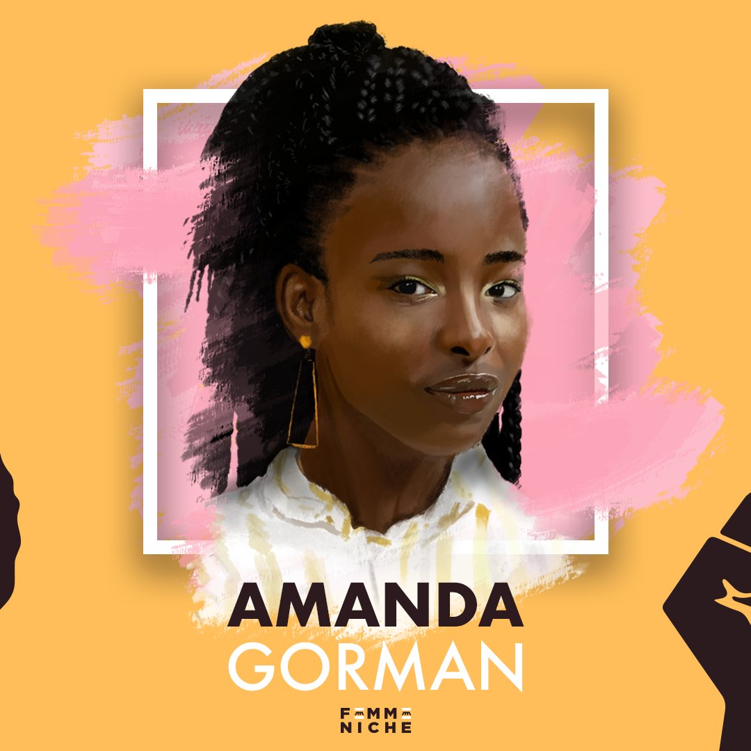 #AmandaGorman is a poet and activist, focusing on oppression, feminism, race, marginalization, as well as the African diaspora.  #WomenActivist #activist #inspirational #PresidentBiden #KamalaHarris #Inauguration2021 #womanofthemonth #WOTM #illustration #womanportrait