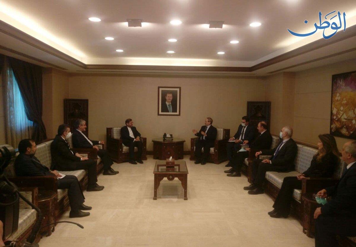 عاجل وزير الخارجية والمغتربين فيصل المقداد يستقبل المتحدث الرسمي باسم وزارة الخارجية الإيرانية سعيد خطيب زاده