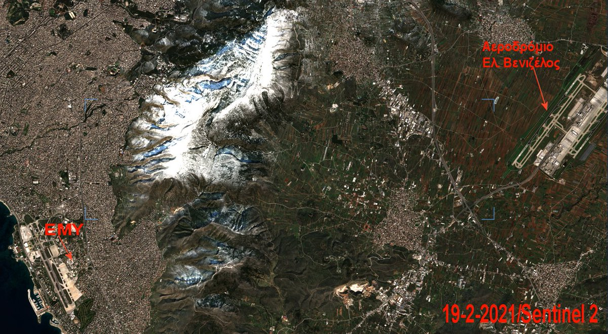 Δορυφορική από τον #Sentinel2 με τον χιονισμένο Υμηττό τη δεύτερη μέρα μετά τις έντονες χιονοπτώσεις στο Λεκανοπέδιο @EMY_HNMS @EmyEmk