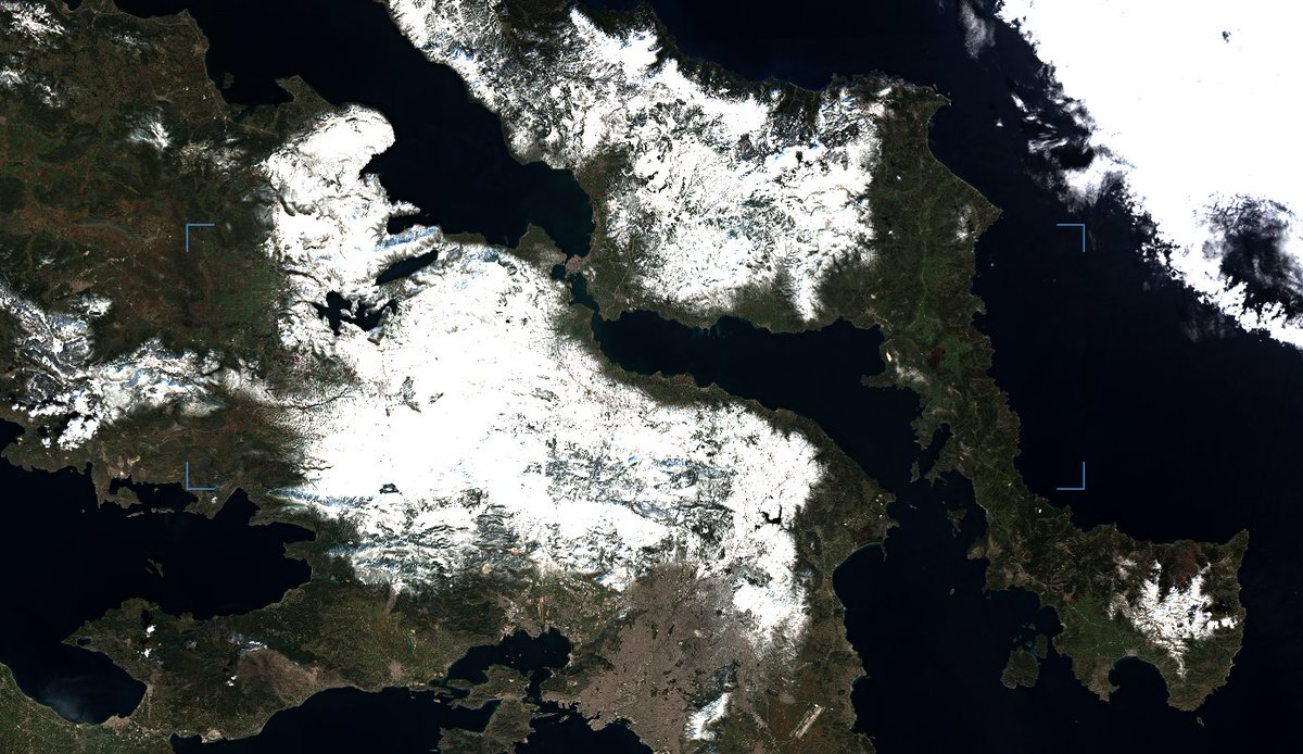 Συμπληρωματική δορυφορική απεικόνιση του χιονοσκεπούς εδάφους πάνω από την Αττική Βοιωτία και Εύβοια @EMY_HNMS @EmyEmk @CopernicusEU @sentinel_hub