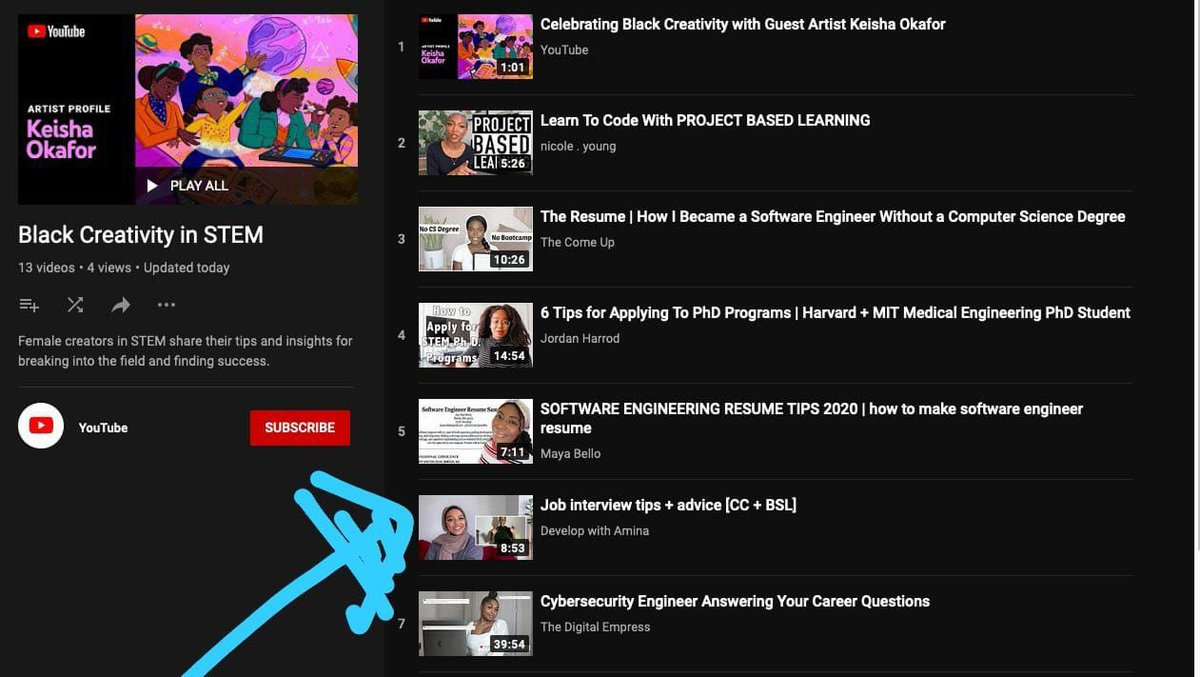 I can't believe my video about interview tips is still chilling on YouTube's page for the whole of February, under their playlist for Black creativity in STEM 🎉#CreateBlackHistory   Check out the playlist here 👇🏽