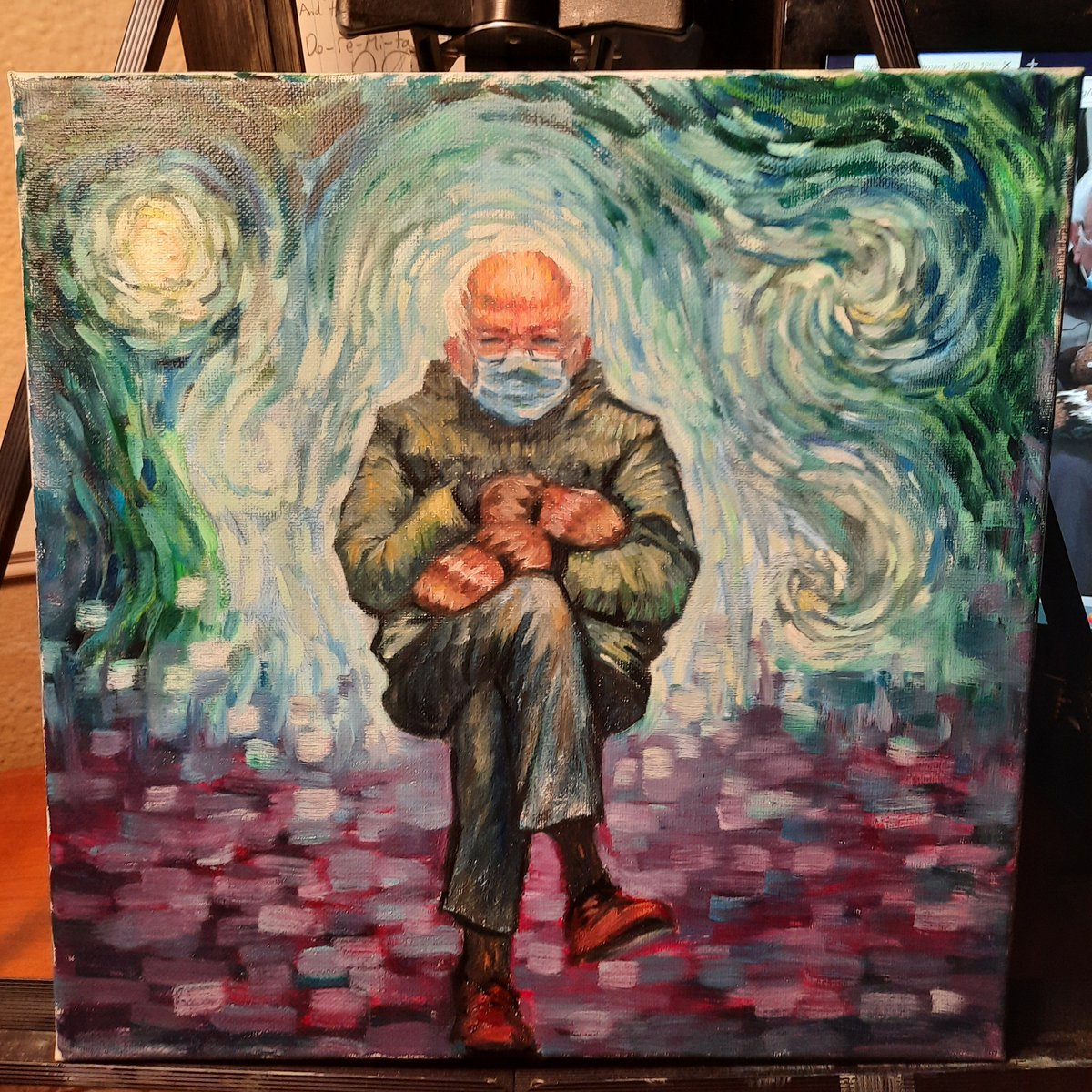 Finished up this #BernieSanders oil painting that I tried a #VanGogh style on. #oilpainting #painting #art #myart #Berniememes #Berniememe  Already sold it to a mutual friend too Ahhhhh. Makes me wanma do more paintings. It was fun.
