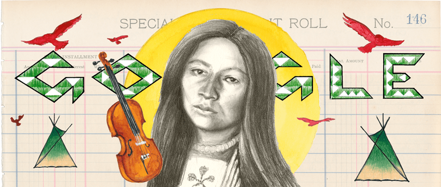 Co-author of the 1st Indigenous American opera 🎭 Powerful writer & musician 🎻  Resilient activist for Indigenous & women's rights 📜  Happy birthday to Zitkala-Ša of the Yankton Sioux Tribe of South Dakota!  #GoogleDoodle🎨 by guest artist Chris Pappan→