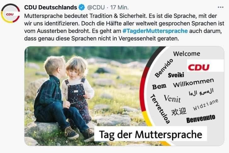 """You couldn't make it up. In their tweet to celebrate """"mother tongue day"""" (because """"our mother tongue provides safety"""") the CDU misspells words in several languages or even creates non-sensical new ones. Gratülation!"""