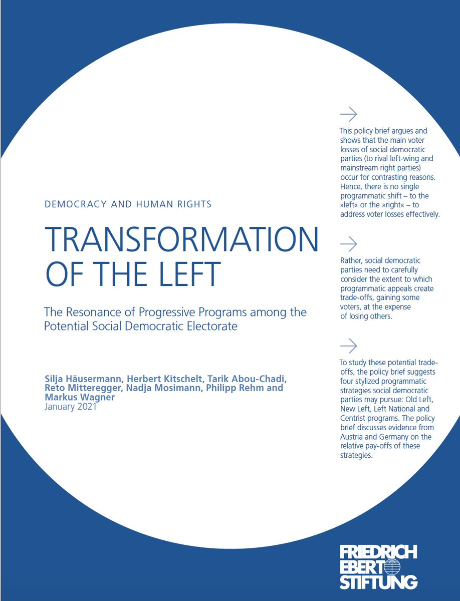 """On programs: The Resonance of Progressive Programs among the Potential Social Democratic Electorate library.fes.de/pdf-files/id/i… Old Left, New Left, Left National and Centrist programs & electoral pay-offs"""", jointly with @tabouchadi, @indubioproreto,Mosimann, Rehm,@MarkusWagnerAT."""