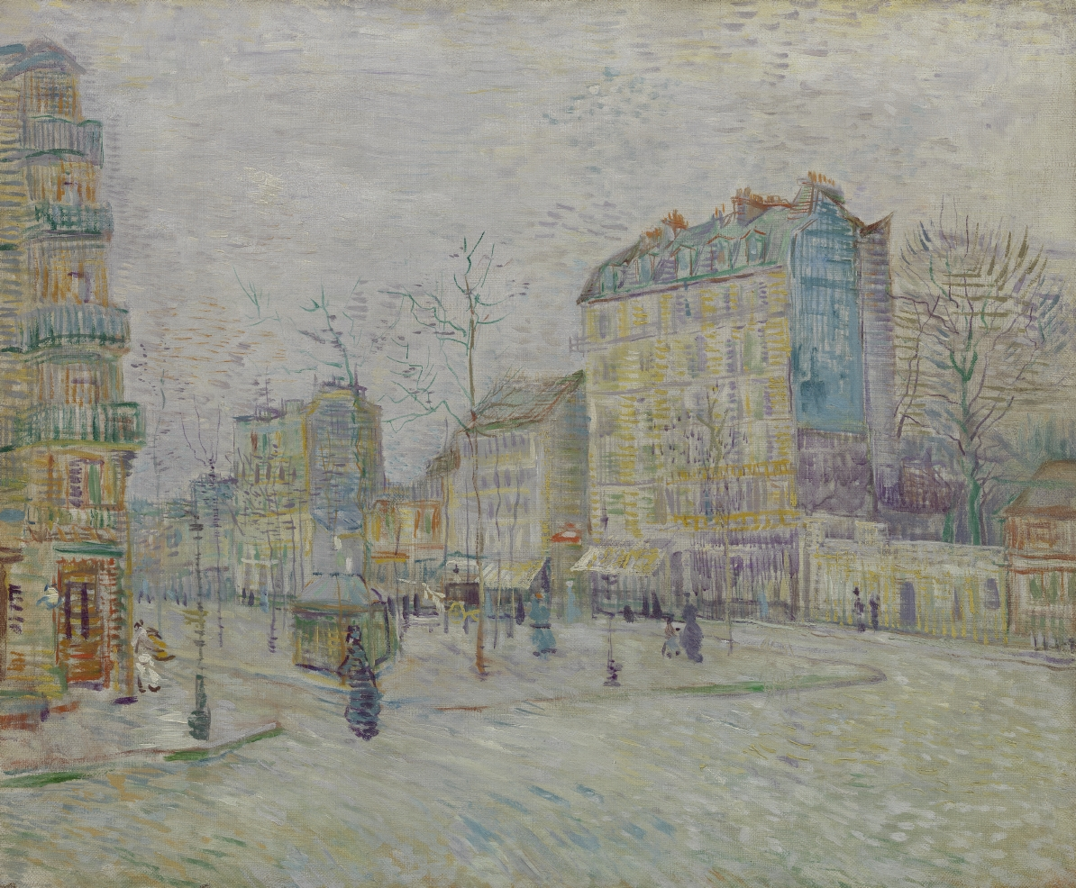 The paint on this work isn't what you'd typically expect from Vincent. He experimented in this painting, trying out diluted oil paint. Do you think that it was a successful experiment? 🌻 Vincent van Gogh, Boulevard de Clichy (1887) https://t.co/5heIN0dIda