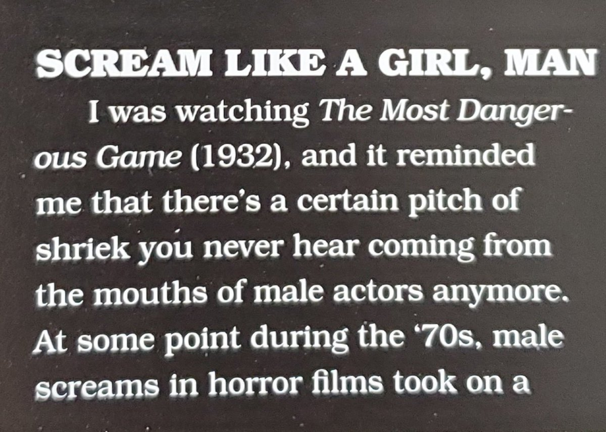 A fascinating observation about men screamin in cinema is brought up in the new issue of FANGORIA.