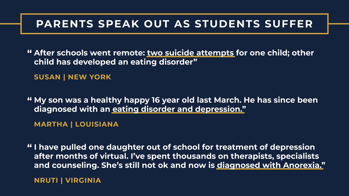 This isnt just kids sad they cant see friends. The mental health toll of remote school is SEVERE. Parents are writing to me about kids attempting suicide and being diagnosed with depression. We can fix this. Why wont Dems listen to the CDC and call for schools to reopen?