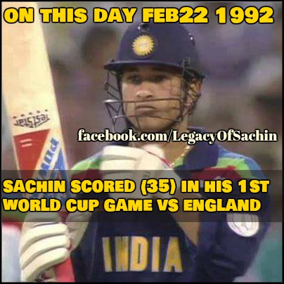 #OnThisDay in 1992 #SachinTendulkar played his first world cup match and scored 35 runs against #England  Later on, he become the highest run scorer in #WorldCup history  -A post from @sachin_rt pakistani fan page